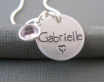 Hand Stamped Jewelry - Personalized Silver Necklace - Name Necklace with Heart - Engraved Necklace