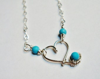 Turquoise Necklace  Heart Necklace  Heart Turquoise Necklace   Sterling Silver Necklace  Valentines Jewelry  December Birthstone