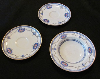 Royal Worcester Small Bowl and 2 Tea Cup Saucers - CAMEO Pattern