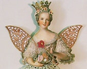 Digital Fairy Princess Paper Doll - INSTANT DOWNLOAD - 3 Styles Of Torsos With Lace Wings - Peach, Blue And Purple Versions CS54CS