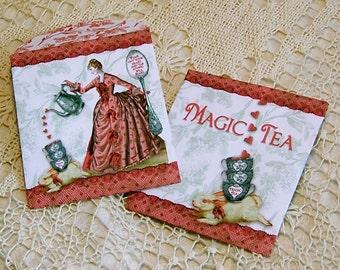 Printable Tea Bag Envelopes Or Candy Container - INSTANT Download - Tea Party Favor - Magic Tea Lady Bunny Design - Set Of Two Designs CS51V