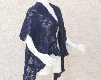 Handmade Hand Knit Cotton Summer Shrug Summer Bolero Summer Sweater Navy Blue Shrug Bolero Sweater Enticing Keyhole Back  Plus Size Shrug