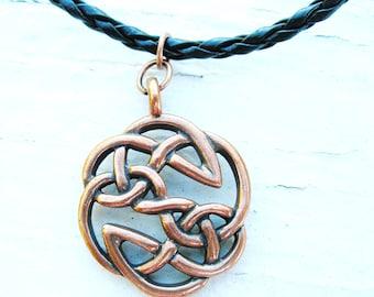 Irish Mens Warrior Antique copper Celtic Knot Pendant Necklace