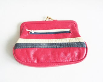 Kitsch 1970s red, navy blue and white leather ladies snap purse with zip pocket