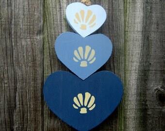 Wood Hearts, Hanging Hearts, Jute Hanger, Painted Wood Hearts, Seashells, Beach Decor, Shades of Blue, Nautical Decor, Door Hanger