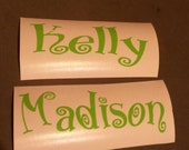 Set of two name personalized vinyl decal stickers personalize your things