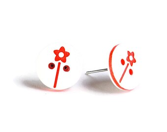 Petite red and white flower button hypoallergenic stud earrings (755) - Flat rate shipping