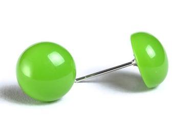 Green dome stud earrings post earrings (701) - Flat rate shipping