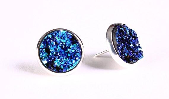 Blue green yellow textured stud earrings - Faux Druzy earrings - Post earrings (786)