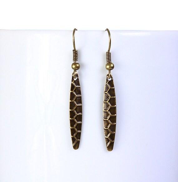 earrings - Antique brass horse eye shape drop earrings dangle earrings (813)