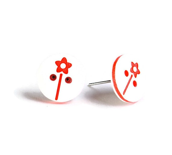 Petite red and white flower button hypoallergenic stud earrings (755)