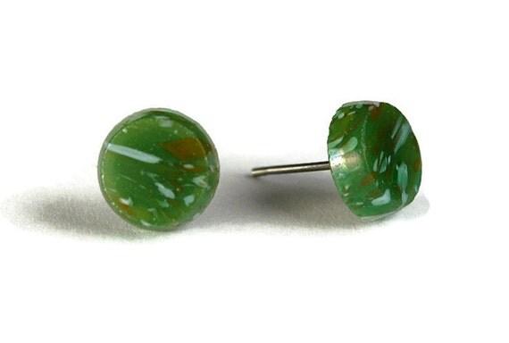 Green jade glass hypoallergenic stud earrings (266) - Flat rate shipping