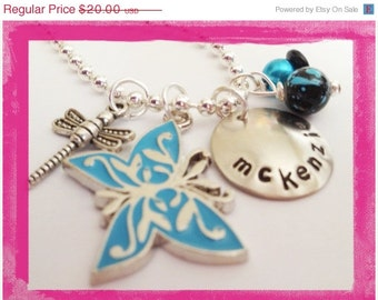 Personalized Jewelry - Hand Stamped Charm Necklace  - BUTTERFLY and DRAGONFLY #X502