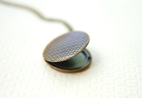 Chevron Tribal Locket Necklace // Urban Brass Aztec Long Necklace // Bridesmaid Gifts // Vintage Wedding