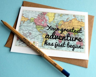 Greatest Adventure congratulations card for a new baby, graduation, or wedding card - (114)