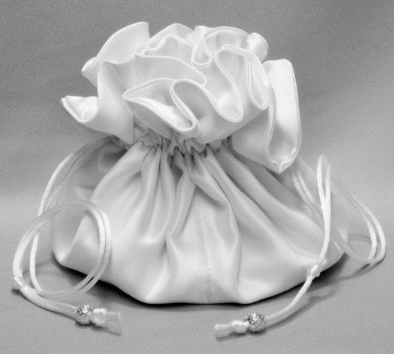 Brides Jewelry Organizer---Drawstring Pouch---White Wedding Bridal Satin --Large Size