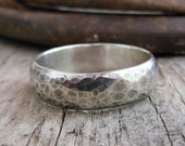 Rustic Sterling Silver Wedding Band, Wide Sterling Silver Ring, Rustic Ring for Men