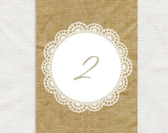 burlap and lace printable rustic wedding table numbers - printable file - instant download numbers 1-24 hessian country, barn wedding, brown