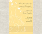 Whimsical Bride Butterfly Bridal Shower Invitation in Yellow and Gray