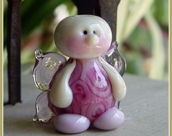 Rosie the Fairy // handmade lampwork bead // fairy bead // pretty in pink // gifts for her // mother's day // angel bead // glass pendant