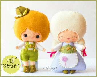 Hansel and Gretel. PDF. Plush Doll Pattern, Softie Pattern, Soft felt Toy Pattern.