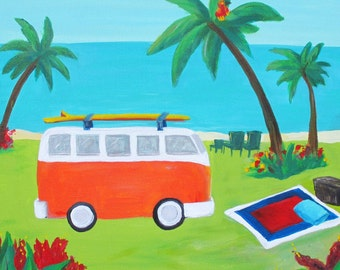 Kelly's Paradise- Colorful Island tropical Landscape Volkswagon Print