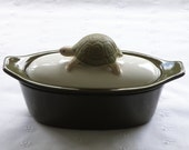 Turtle Pottery Butter Boat (3 Piece) - Dark Olive Green & White - USA Made