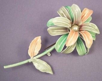 Vintage Enamel Floral Brooch / Pink Lilac Green Flower Floral Pin / Enamel Brooch