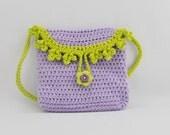 Purple and Green Crocheted Girl's Purse - Crochet Bag - Fashion Purse -
