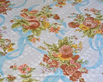 Vintage Bed Sheet - Autumn Color Rose Bouquets and Blue Ribbons - Unused Full Flat