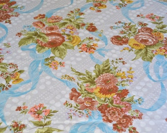 Vintage Bed Sheet - Autumn Color Rose Bouquets and Blue Ribbons - Unused Twin Flat