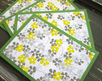Yellow, Gray and Silver Floral Paper on Bright Green Flat Notecards with Matching Envelopes - Set of 4