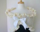 Bridal bolero Wedding shawl  White ruffled shrug Gift wrapped bride White satin ribbon bow