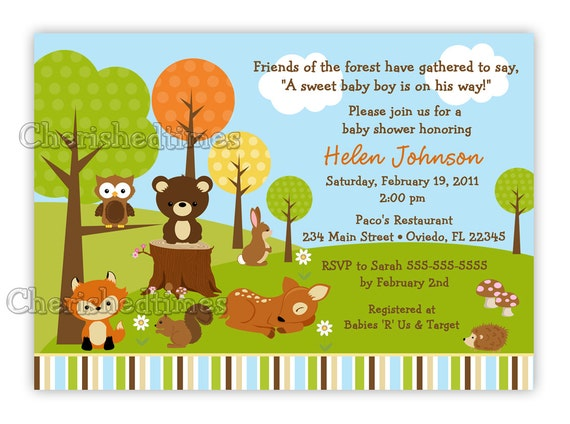 woodland forest friends animals baby shower invitation you, Baby shower invitations
