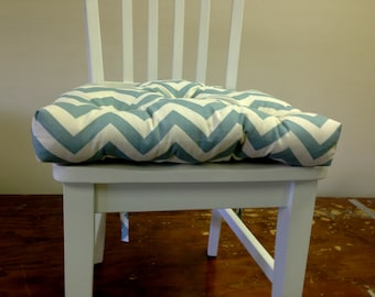 Tufted chair pad, seat cushion, bar stool cushion, Village blue on natural chevron zig zag