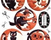 Digital Download Vintage Halloween Graphics, man-in-the-moon reproductions, German Halloween die-cuts