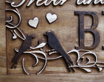 Personalized Family Name Signs custom wedding gift CARVED Wooden Sign Last name Wedding Established Anniversary love birds personalized sign