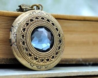brass locket necklace, vintage jeweled necklace, Montana blue necklace, photo locket, round pendant