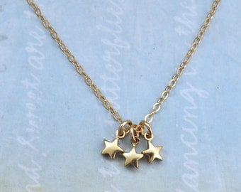 gold star necklace, tiny stars pendant, stardust, gold filled necklace, family of 3, dainty necklace, petite stars jewelry