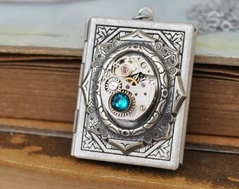 silver locket necklace, steampunk locket, THE TIME KEEPER, antiqued silver book style locket with vintage watch movement
