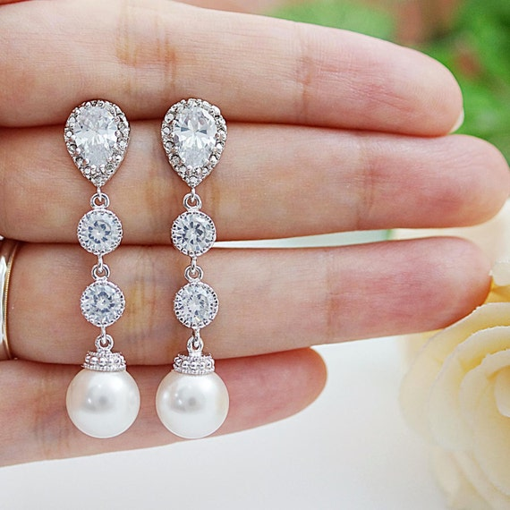 Etsy Wedding Gift Jewelry : Weddings Bridesmaid Gift Bridal Jewelry Bridal Earrings Bridesmaid ...