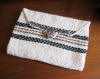 Vintage 70s Woven Boho Envelope Clutch Purse