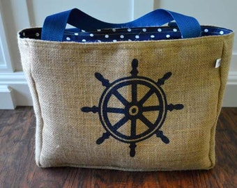 Handmade Captain Ships Wheel Burlap Market Tote Bag