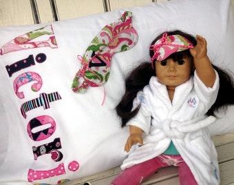 American Girl Sleep Set Personalized Pillowcase, Personalized Sleep Mask and Doll Sleep Mask to Match