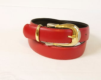 Vintage 1980s Red Milos Leather Belt  size medium
