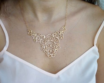 Filigree Necklace - Handmade Gold Necklace - Nickel Free Pendant Necklace | Handcrafted Jewelry