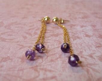 Long Amethyst Dangle Earrings in Gold-Filled - Hypoallergenic Earings  - Gold Dangle Earrings   Handcrafted Jewelry