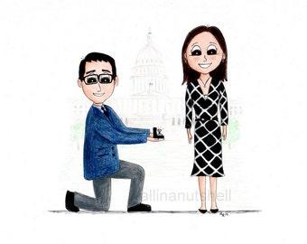 Custom Hand Drawn Engagement caricature