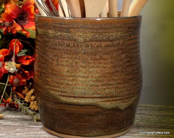 Kitchen Utensil Holder Tool Crock Ceramic Pottery Handmade