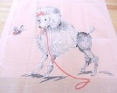 1950s Childs Pink FRENCH POODLE Handkerchief
